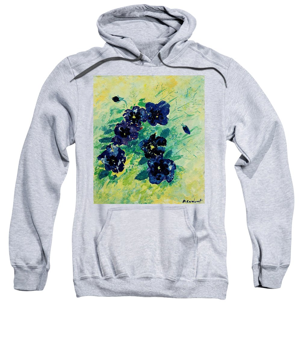 Flowers Sweatshirt featuring the painting Pansies by Pol Ledent