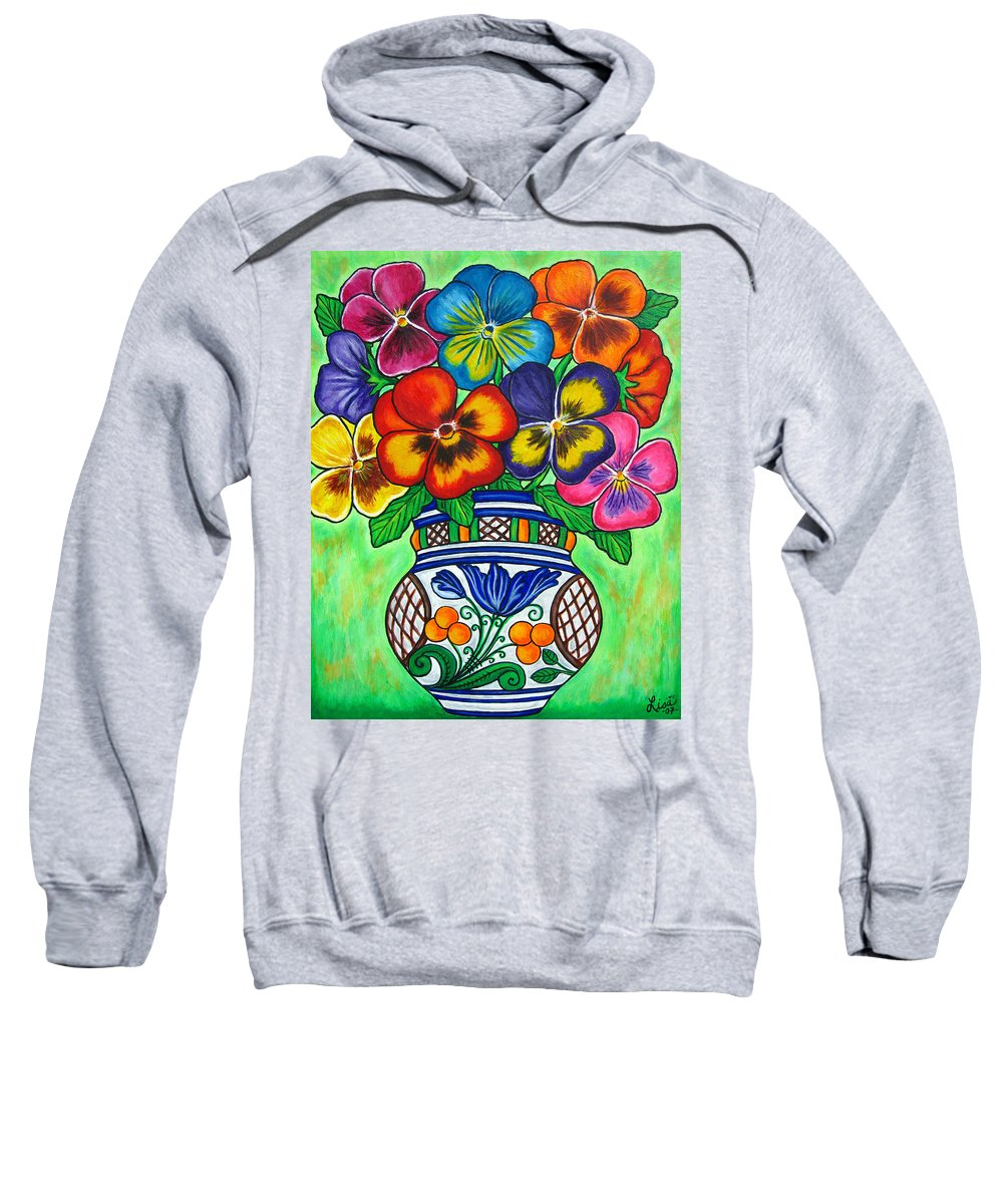 Flower Sweatshirt featuring the painting Pansy Parade by Lisa Lorenz