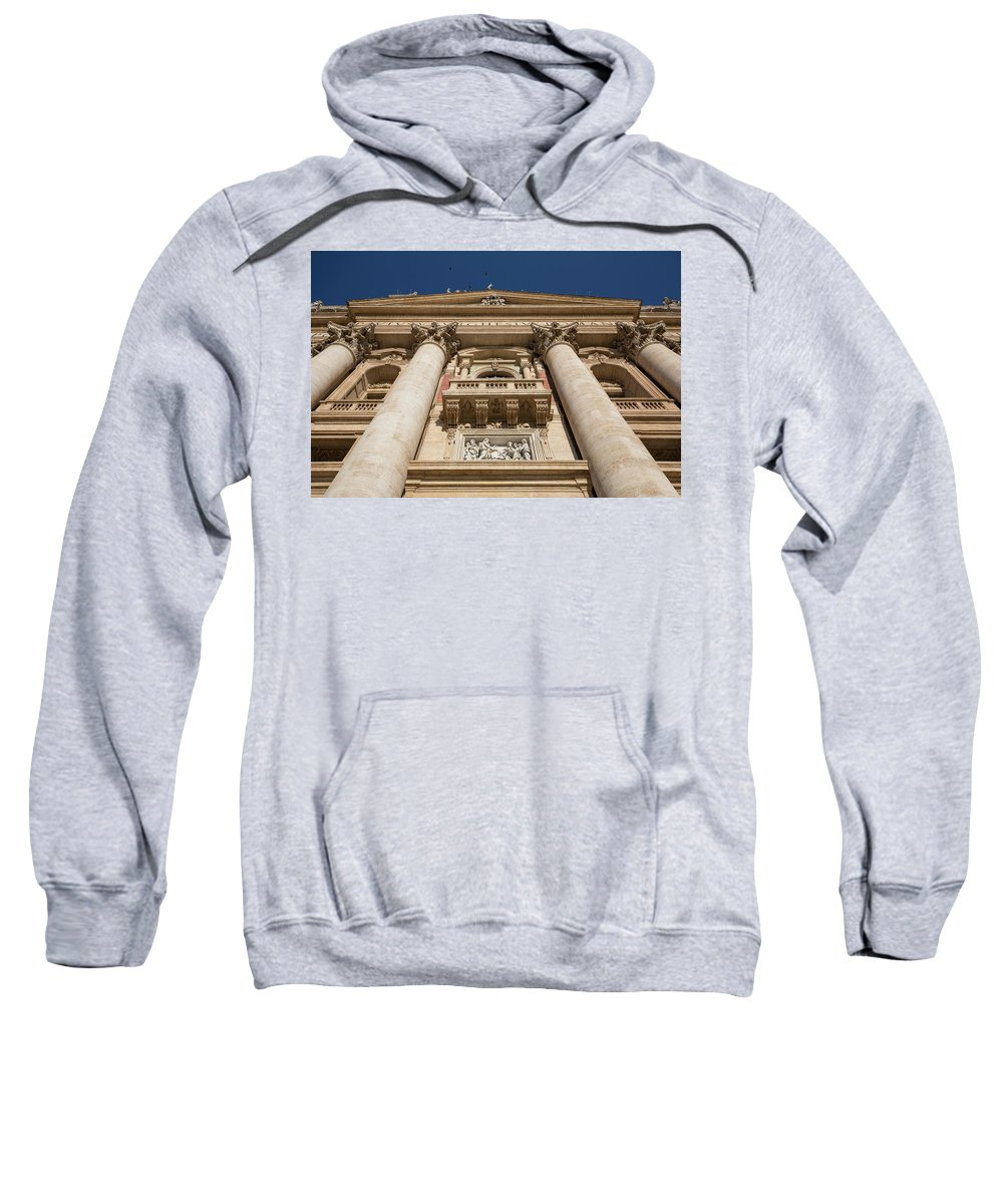 St Peter�s Basilica Christianity Cathedral Church Holy Monument Pope Balcony San Pietro Rome Europe European Italy Italia Rome Roma Roman History Historic Beautiful Style Romantic Romance Summer In Italy Landmark Monument Capital Tiber Architecture Architectural Buildings Weathered Summer In Rome Red Brick Sweatshirt featuring the photograph Papal Balcony by Michael Evans