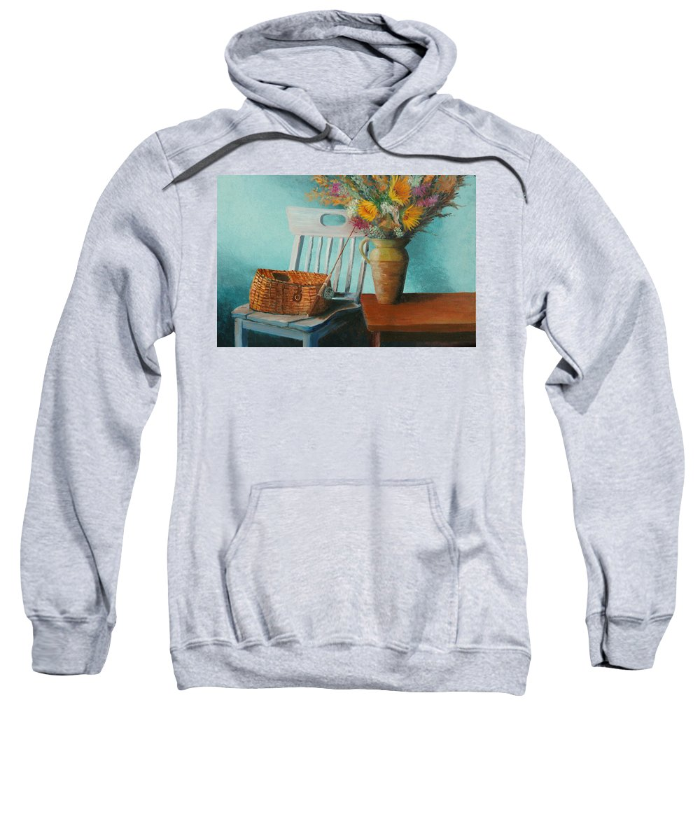 Floral Sweatshirt featuring the painting Papa's Pole by Jerry McElroy