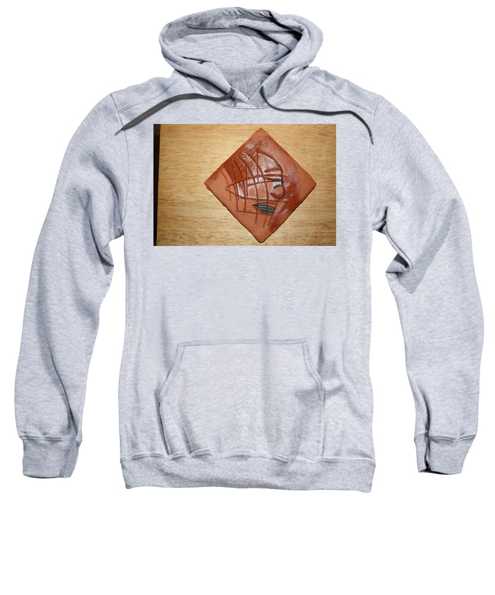 Jesus Sweatshirt featuring the ceramic art Papyrus - Tile by Gloria Ssali