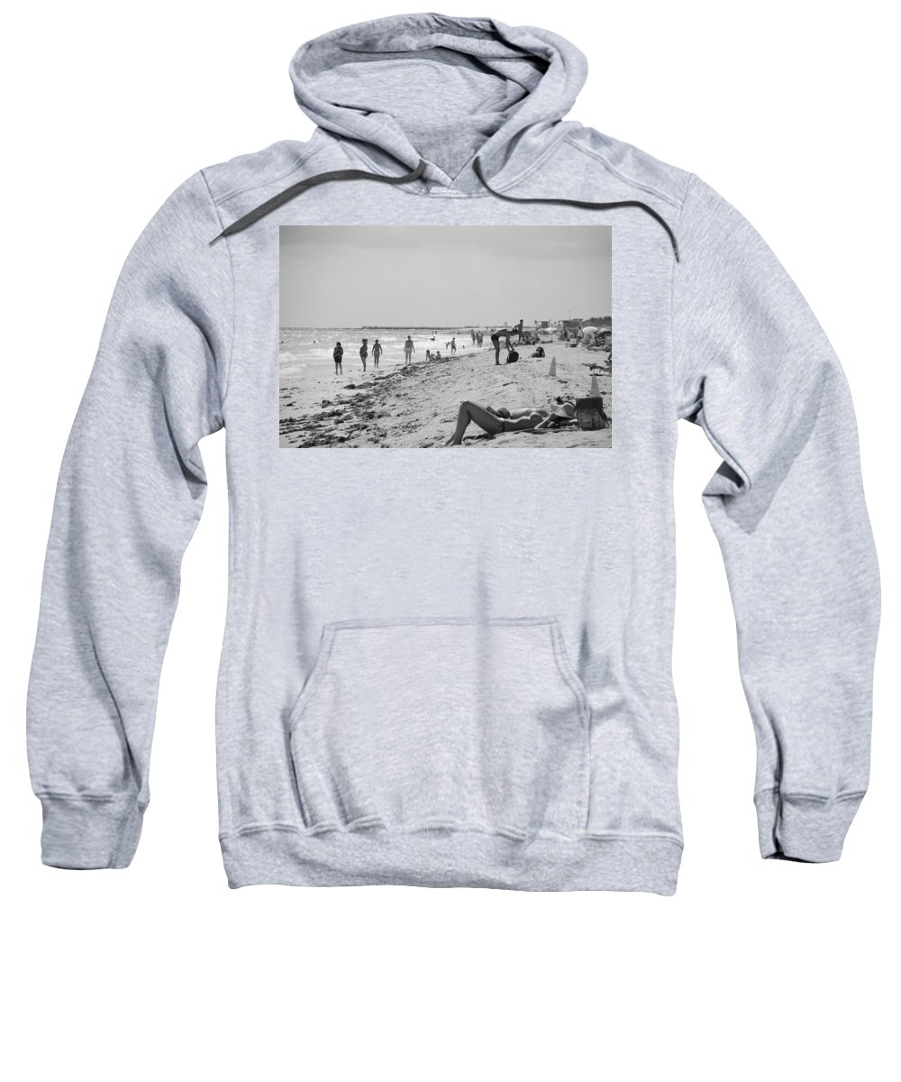 Black And White Sweatshirt featuring the photograph Paradise Beach In Black And White by Rob Hans