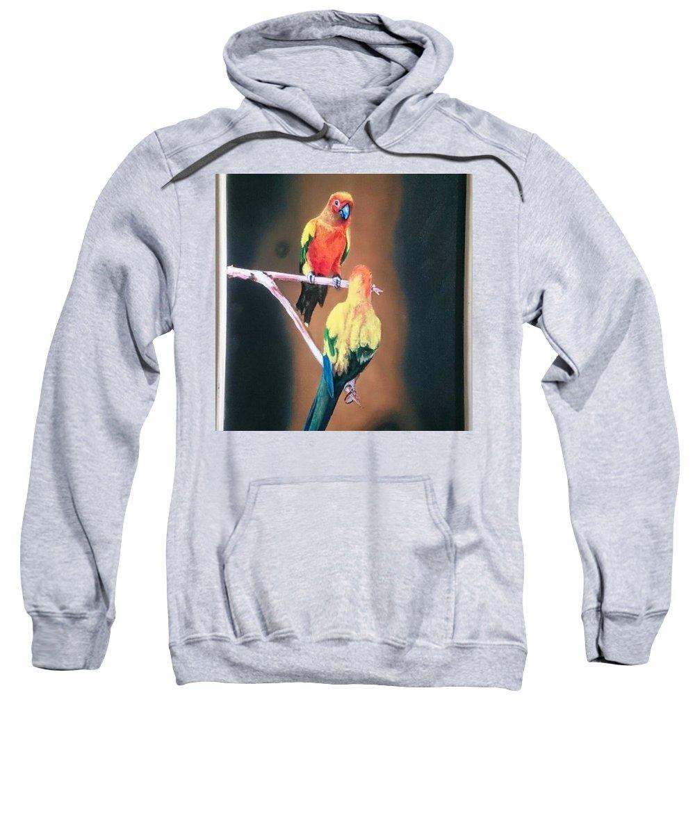 Parakeet Sweatshirt featuring the painting Parakeet by Suresh Nair