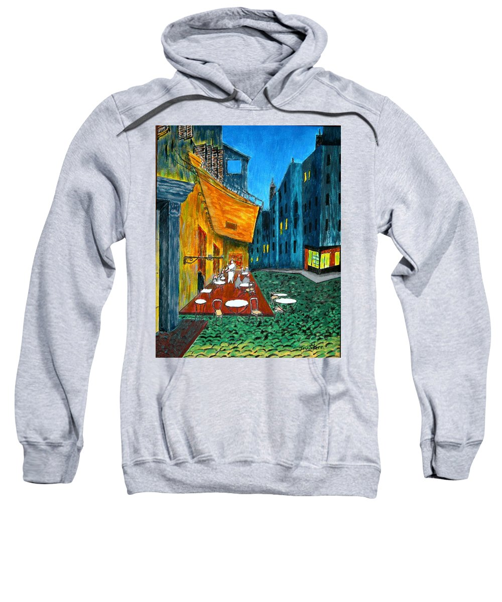 Van Gogh Sweatshirt featuring the painting Paris Cafe by Irving Starr