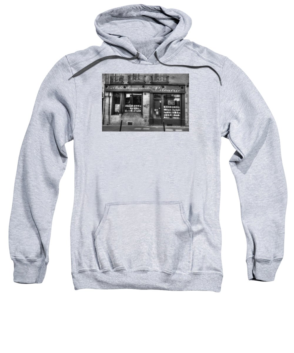 Paris Sweatshirt featuring the photograph Paris France Book Store Library Black And White by Toby McGuire