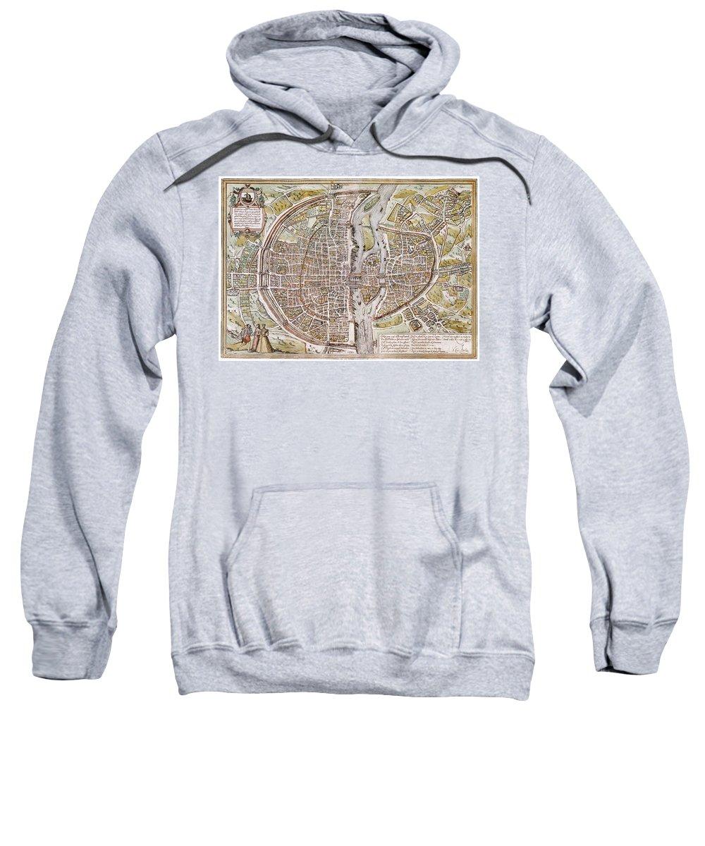 1581 Sweatshirt featuring the photograph Paris Map, 1581 by Granger