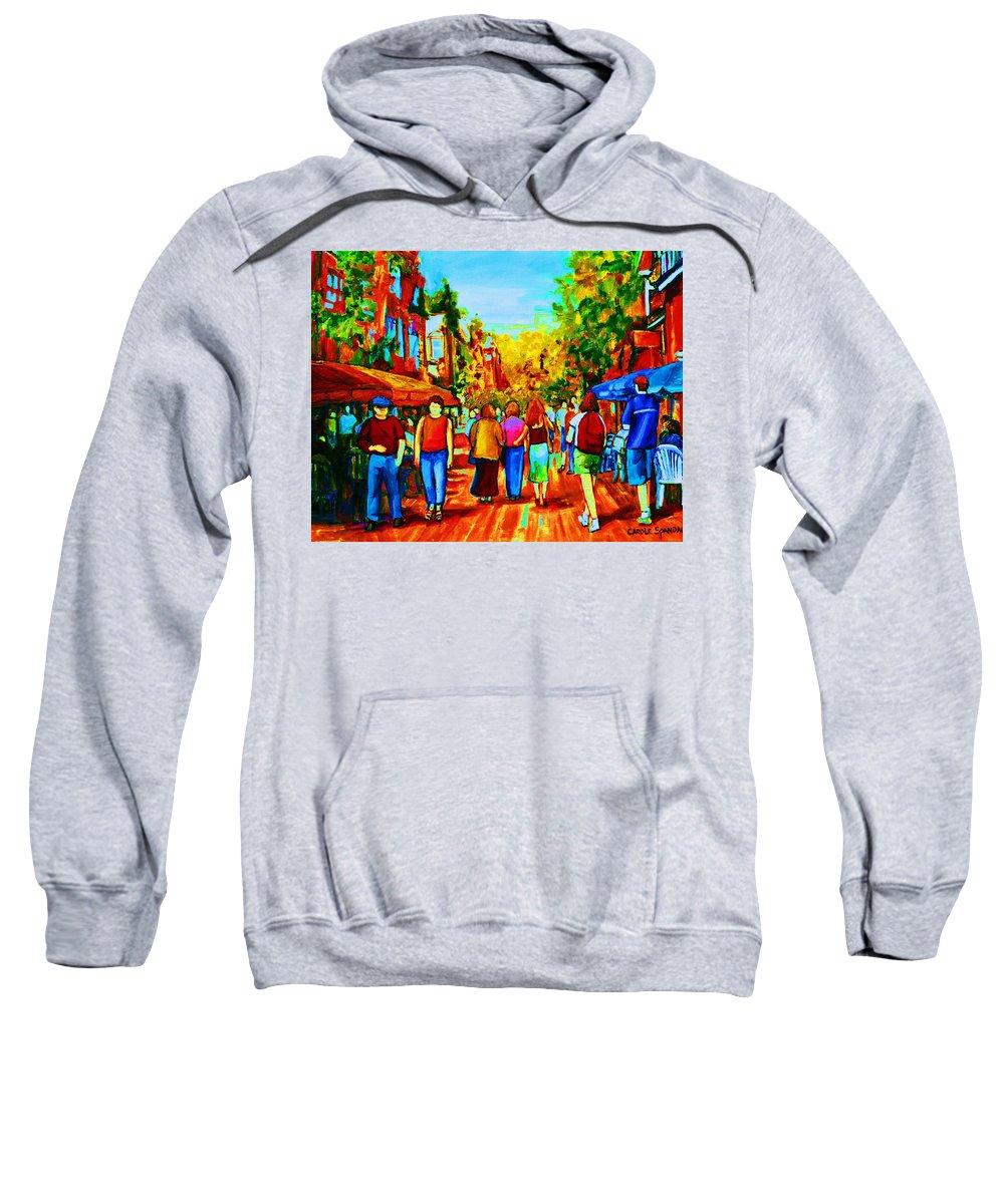 Cafe Scenes Sweatshirt featuring the painting Parisian Cafes by Carole Spandau