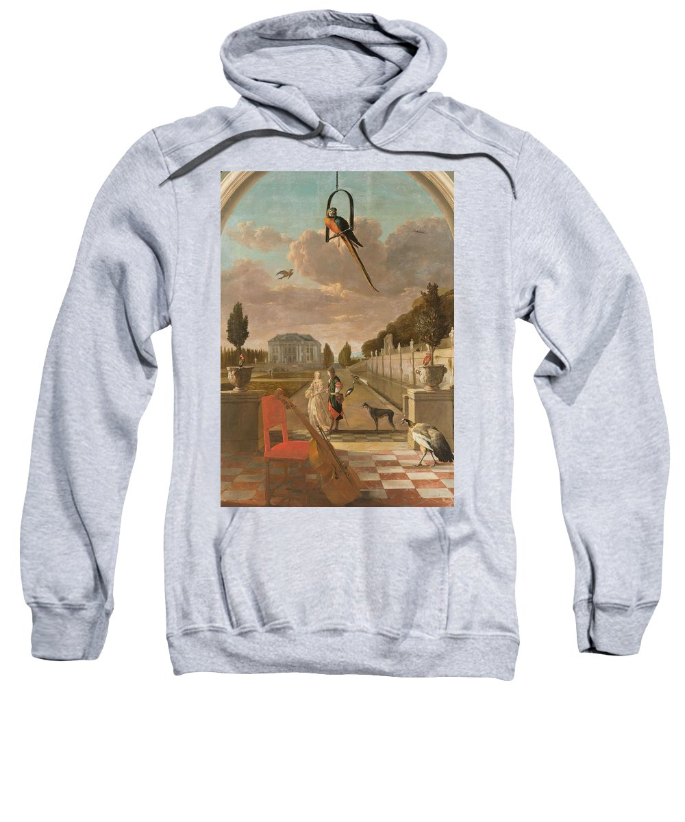 Nature Sweatshirt featuring the painting Park With Country House, Jan Weenix, 1670 - 1719 by Jan Weenix