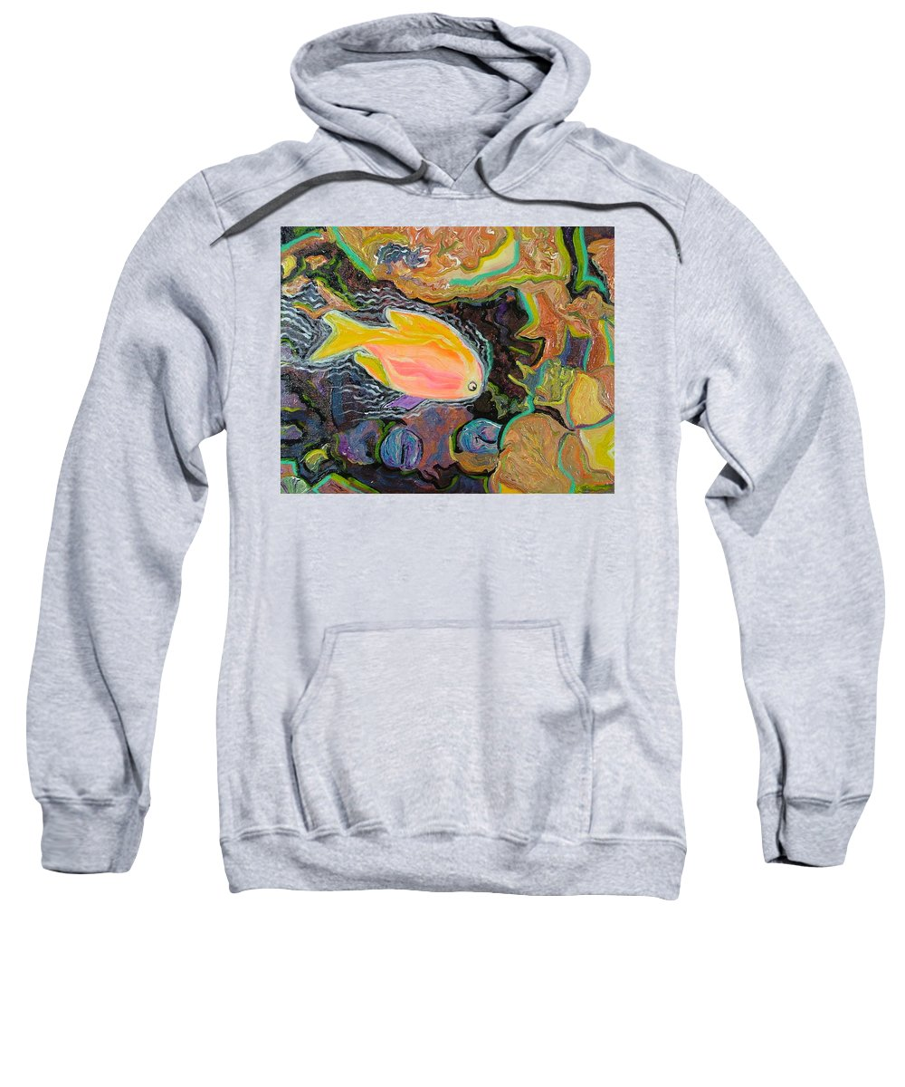 Neon Sweatshirt featuring the painting Parrot Fish Are Transgendered by Heather Lennox