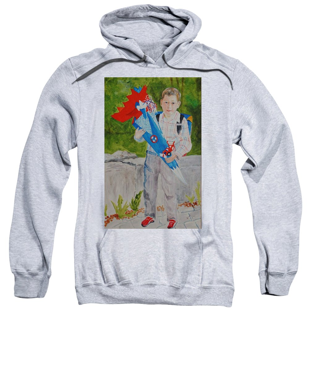 School Sweatshirt featuring the painting Pascals First Day At School 2004 by Helmut Rottler