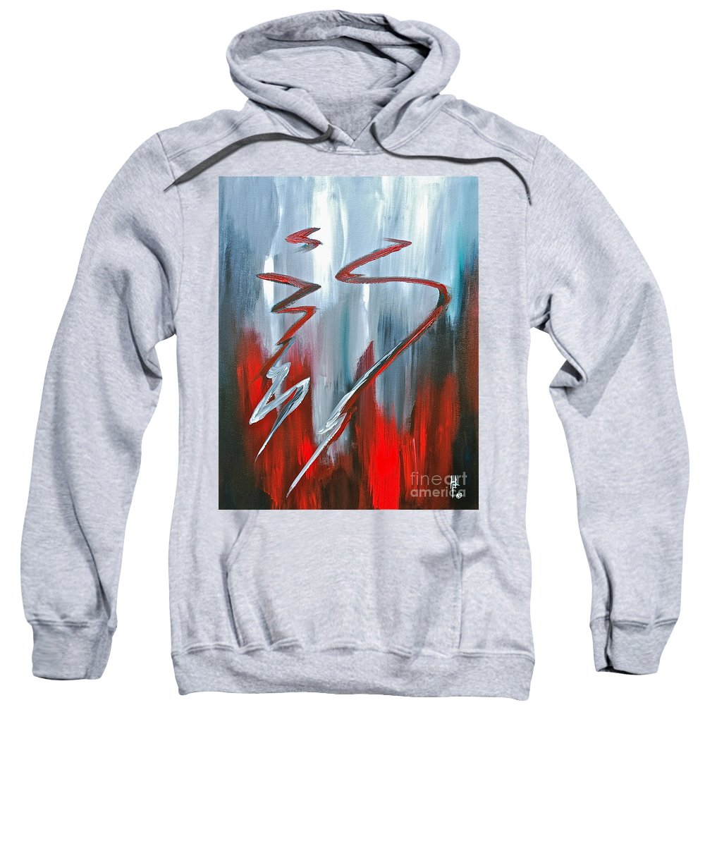 Abstract By Herschel Fall Red And Gray Sweatshirt featuring the painting Passion Two by Herschel Fall