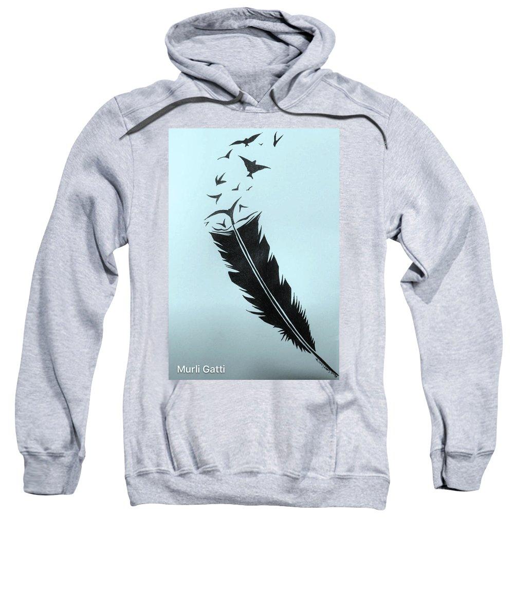 Birds Sweatshirt featuring the painting Past by Murali Gatti