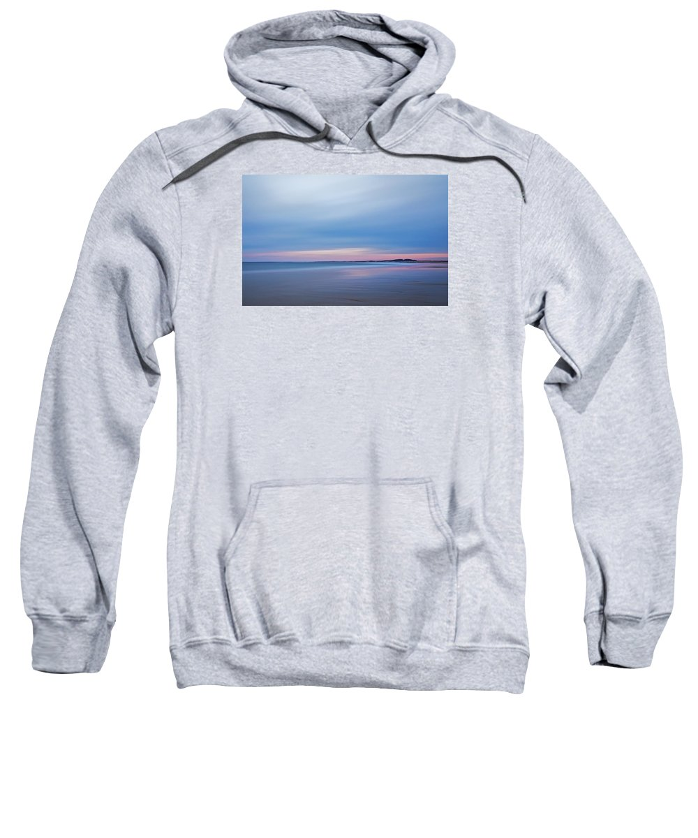 New England Sweatshirt featuring the photograph Pastel Evening Light On Blue Hour Plum Island by Scott Snyder