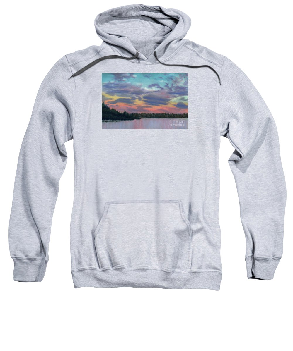 Landscape Sweatshirt featuring the painting Pastel Sunset by Lynn Quinn