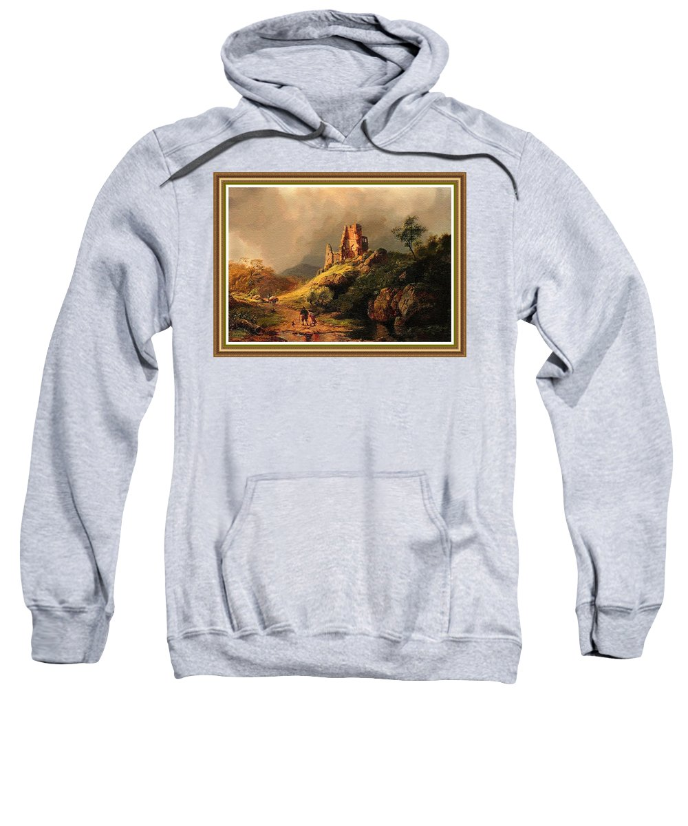 Rural Sweatshirt featuring the painting Path Next To The Ruins Of Belloque Castle L B With Decorative Ornate Printed Frame. by Gert J Rheeders