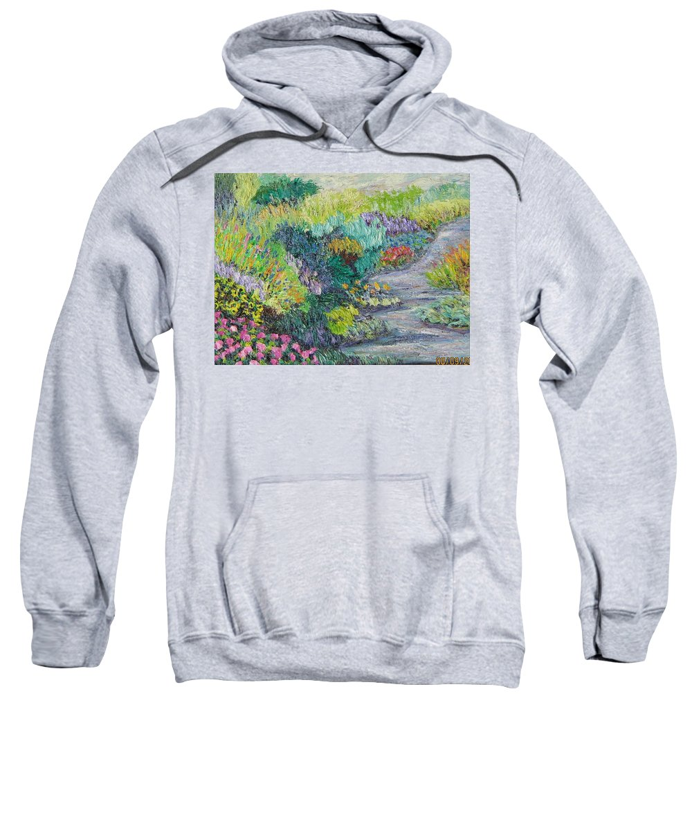 Flowers Sweatshirt featuring the painting Pathway Of Flowers by Richard Nowak