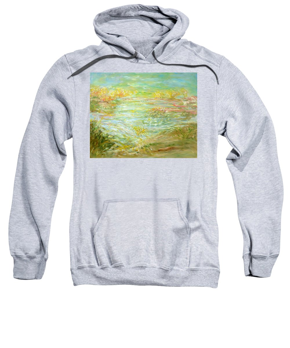 Inspirational Landscape Sweatshirt featuring the painting Patience Post by Sara Credito