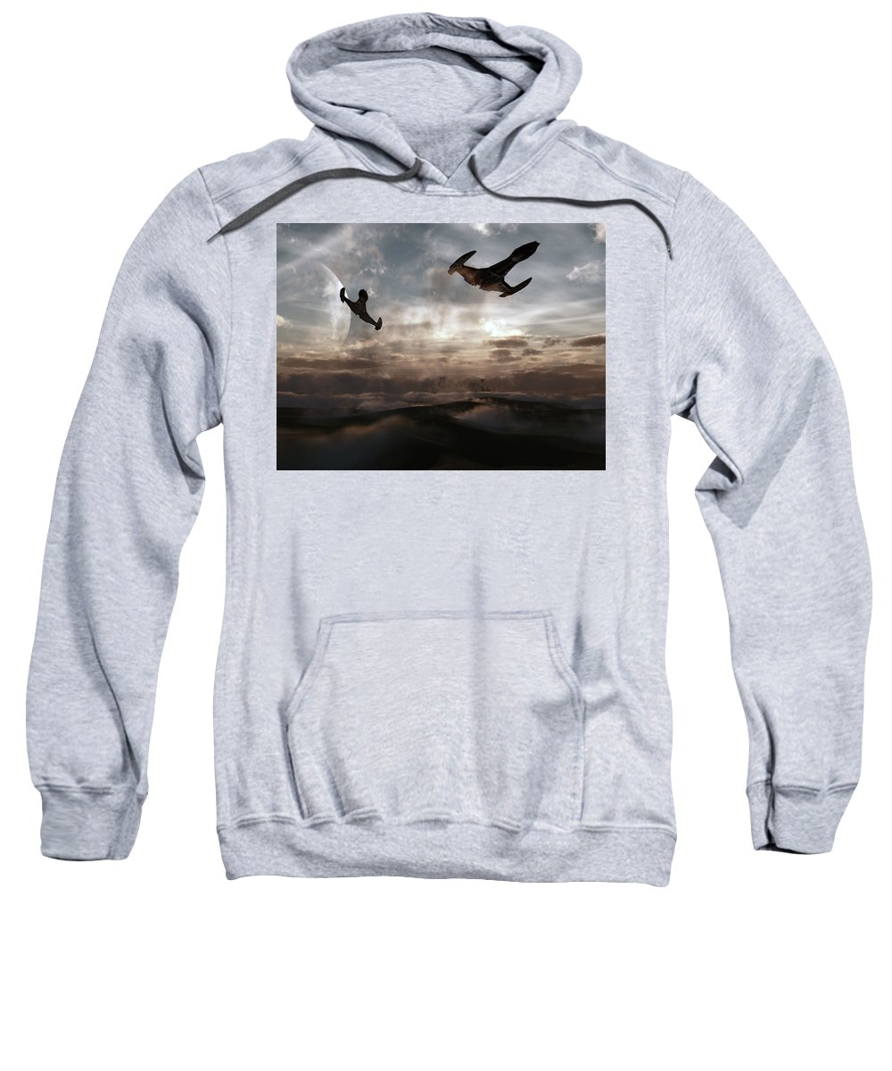 Sci-fi Sweatshirt featuring the digital art Patrol Of Sector 9 by Richard Rizzo