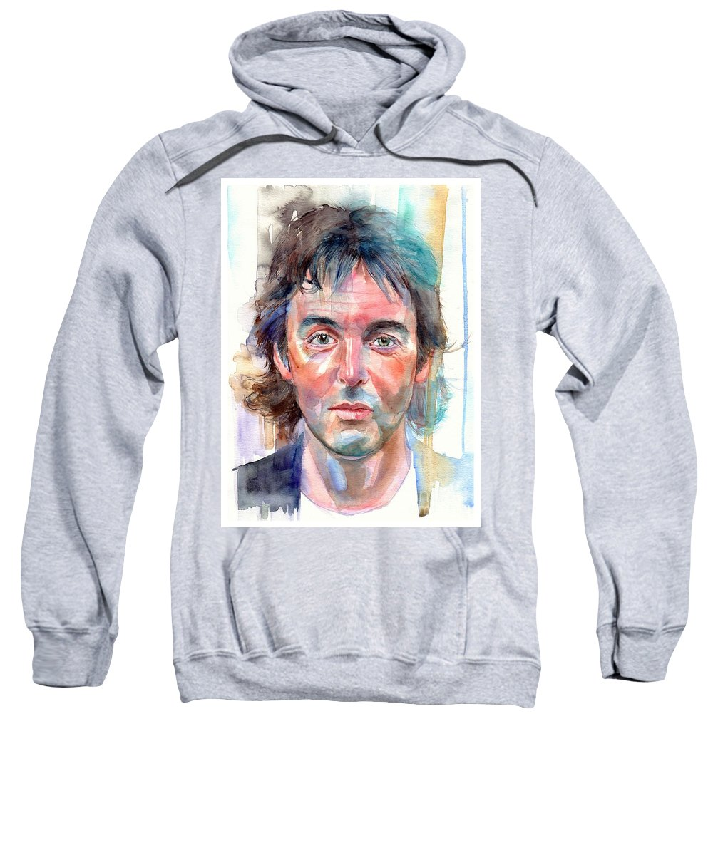 Paul Sweatshirt featuring the painting Paul McCartney young portrait by Suzann Sines