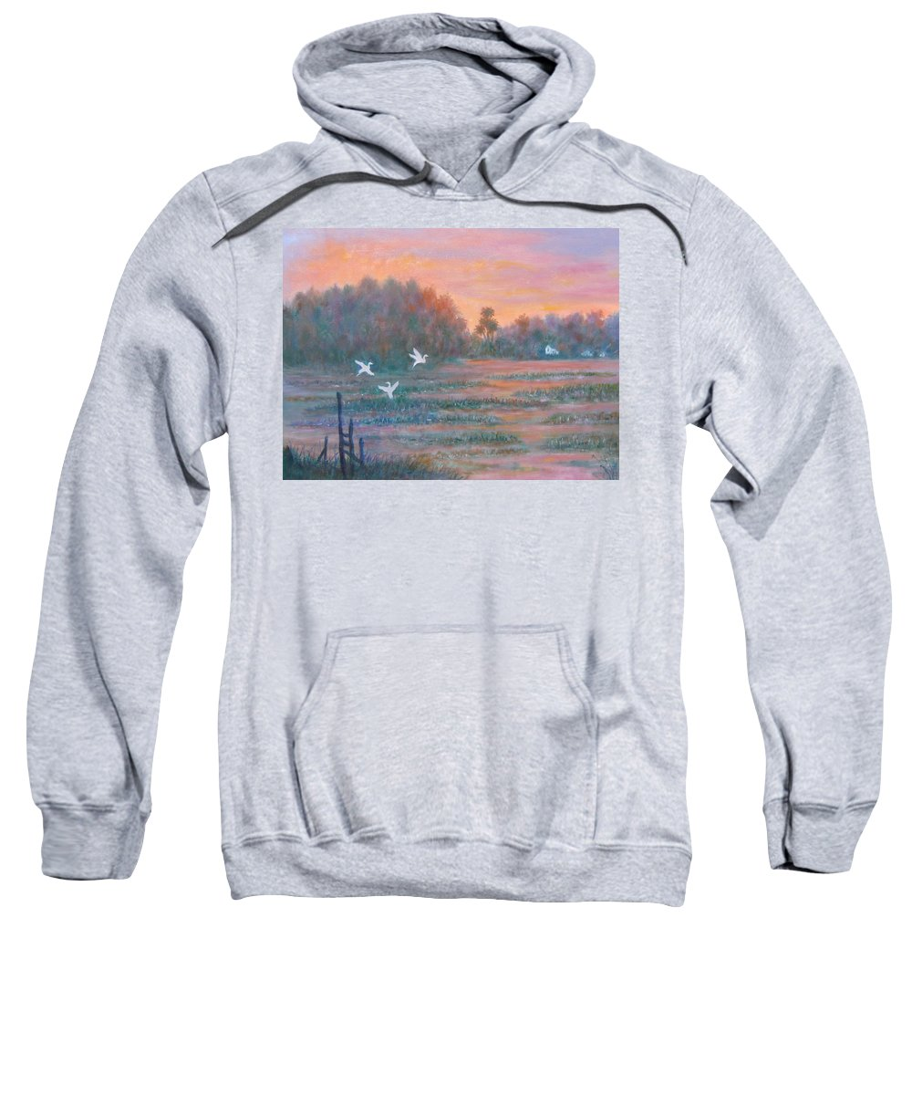 Low Country; Egrets; Sunset Sweatshirt featuring the painting Pawleys Island by Ben Kiger