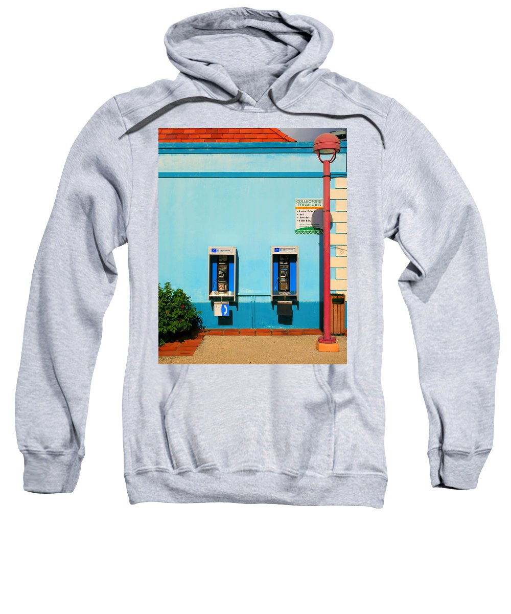 Pay Sweatshirt featuring the photograph Pay Phones by Perry Webster