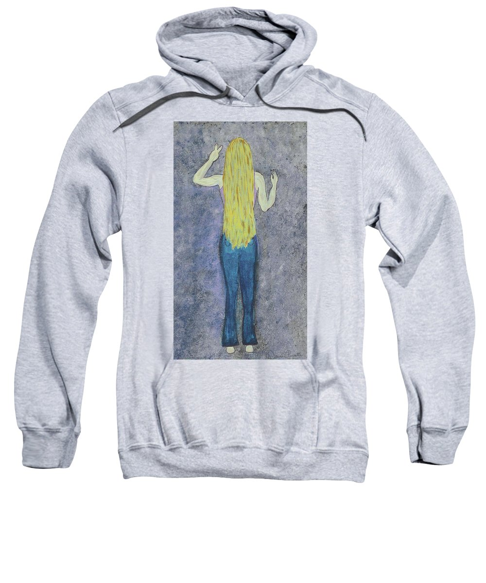 Hippie Sweatshirt featuring the mixed media Peace by Desiree Paquette