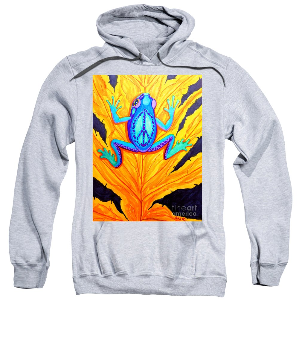 Frog Sweatshirt featuring the drawing Peace Frog On Fall Leaf by Nick Gustafson