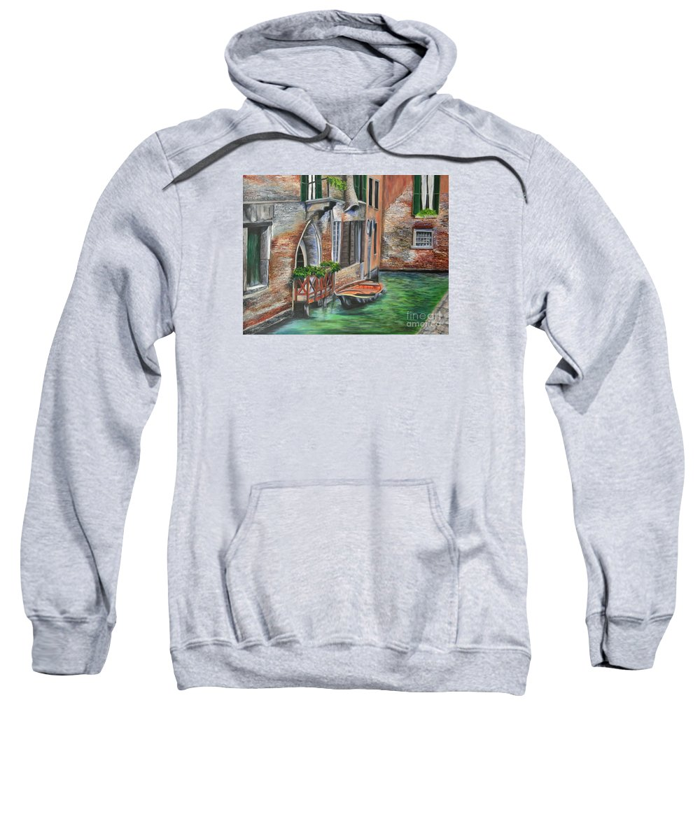 Venice Paintings Sweatshirt featuring the painting Peaceful Venice Canal by Charlotte Blanchard