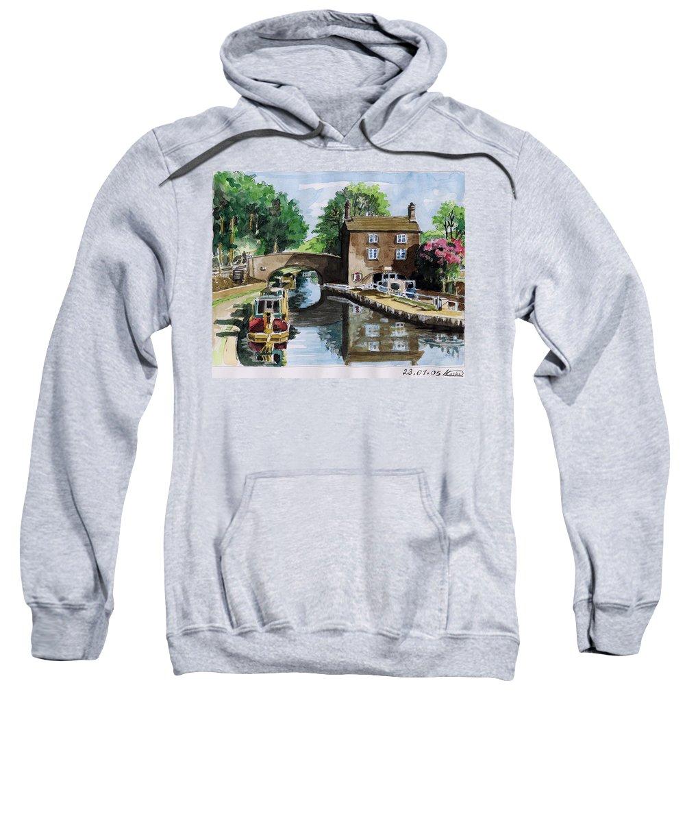 House Sweatshirt featuring the painting Peacfull House On The Lake by Alban Dizdari
