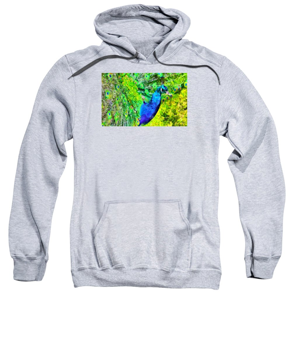 Peacock Sweatshirt featuring the digital art Peacock by Caito Junqueira