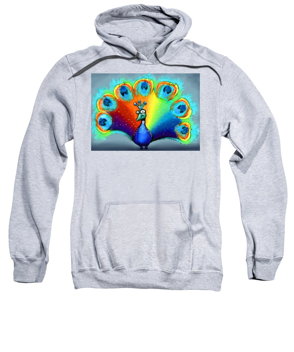 Color Sweatshirt featuring the painting Peacock by Kevin Middleton