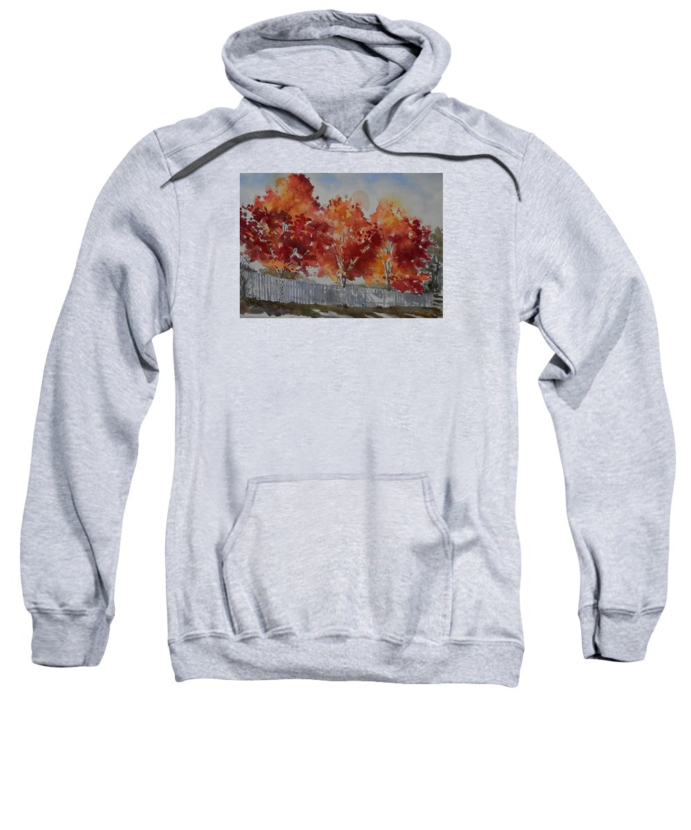 Landscape Sweatshirt featuring the painting Pear Trees Fall Afternoon by Martha Tisdale
