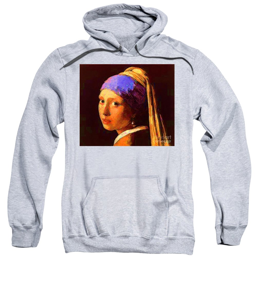 Pearl Ear Ring Sweatshirt featuring the painting Pearl Ear Ring by D Fessenden