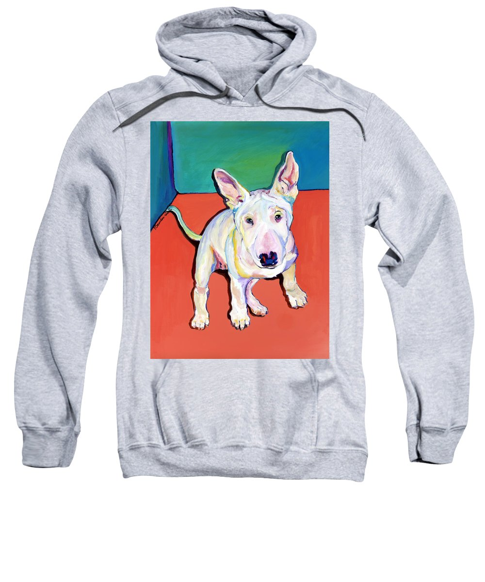 Pet Portrait Commissions Sweatshirt featuring the painting Pearl by Pat Saunders-White