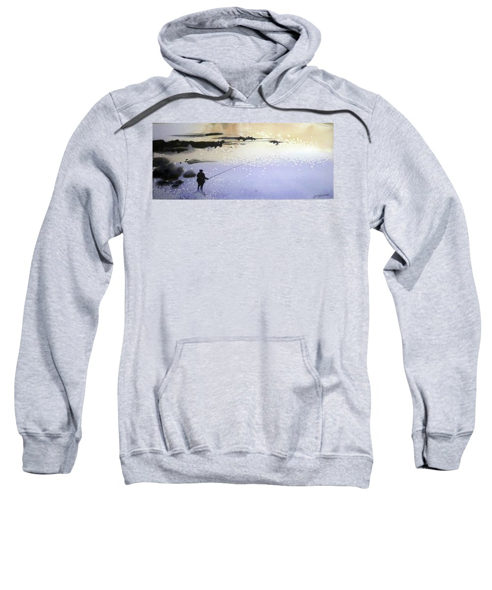 Water Outdoors Nature Travel Holidays Landscape Sweatshirt featuring the painting Peche by Ed Heaton