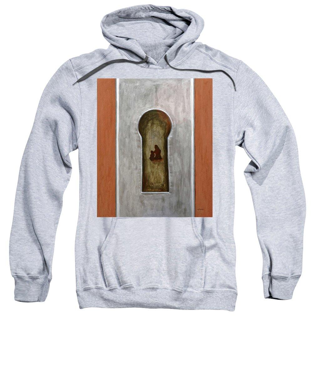 Door Sweatshirt featuring the painting Peek At The Past by Joko Apridinoto