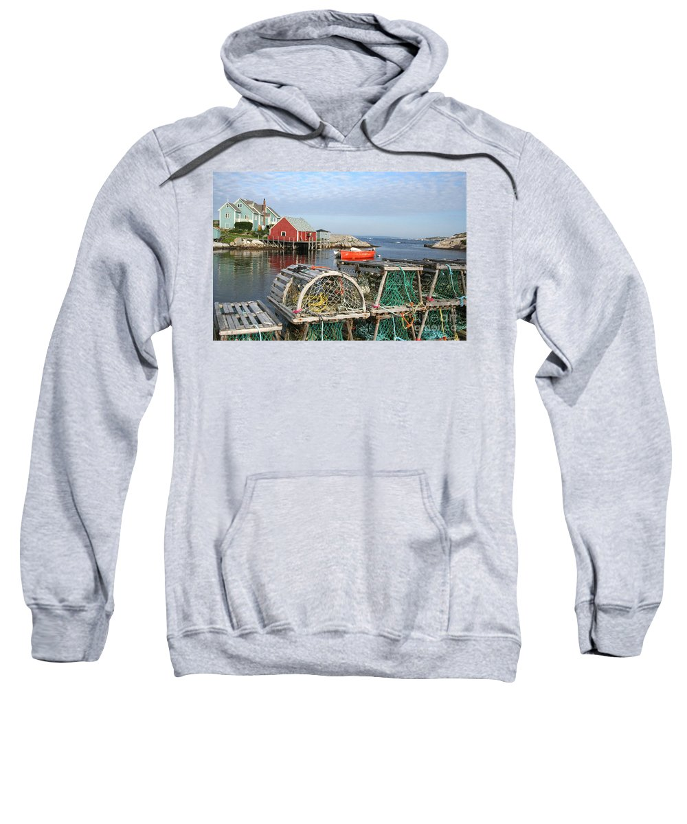 Peggy\\ Sweatshirt featuring the photograph Peggys Cove And Lobster Traps by Thomas Marchessault