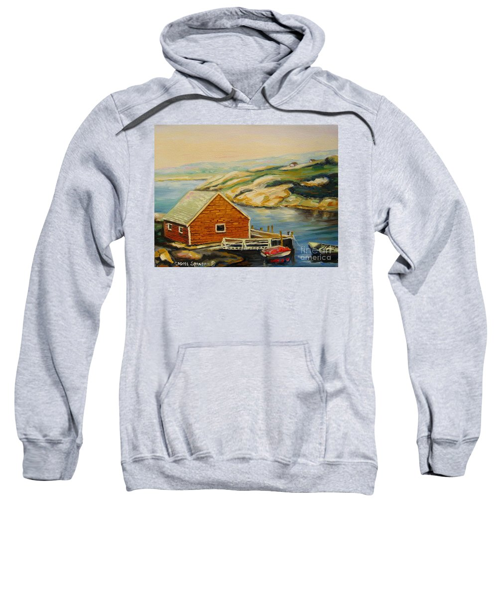 Peggy's Cove Harbor View Sweatshirt featuring the painting Peggys Cove Harbor View by Carole Spandau