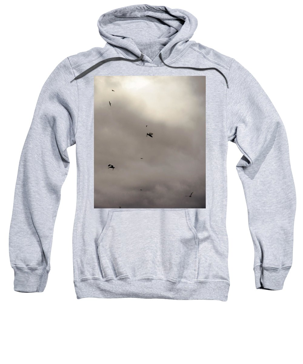 Pelican Sweatshirt featuring the photograph Pelican Sky by Michael Frizzell