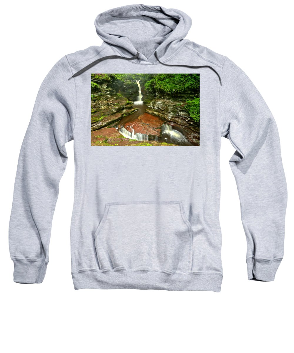 Adams Falls Sweatshirt featuring the photograph Pennsylvania Red Rock Falls by Adam Jewell