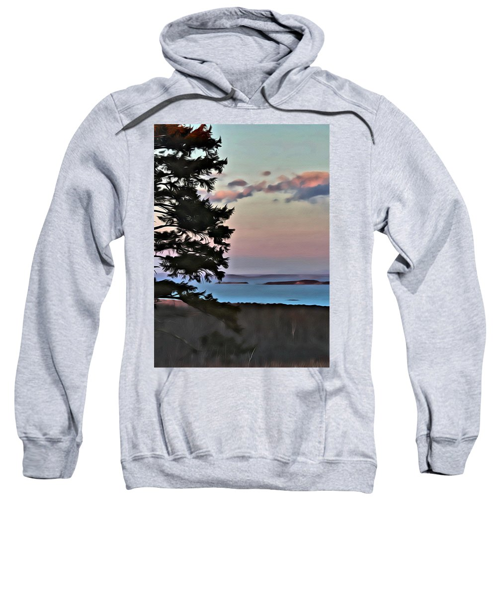 Rocky Shore Sweatshirt featuring the photograph Penobscot Bay At Dusk by Modern Art