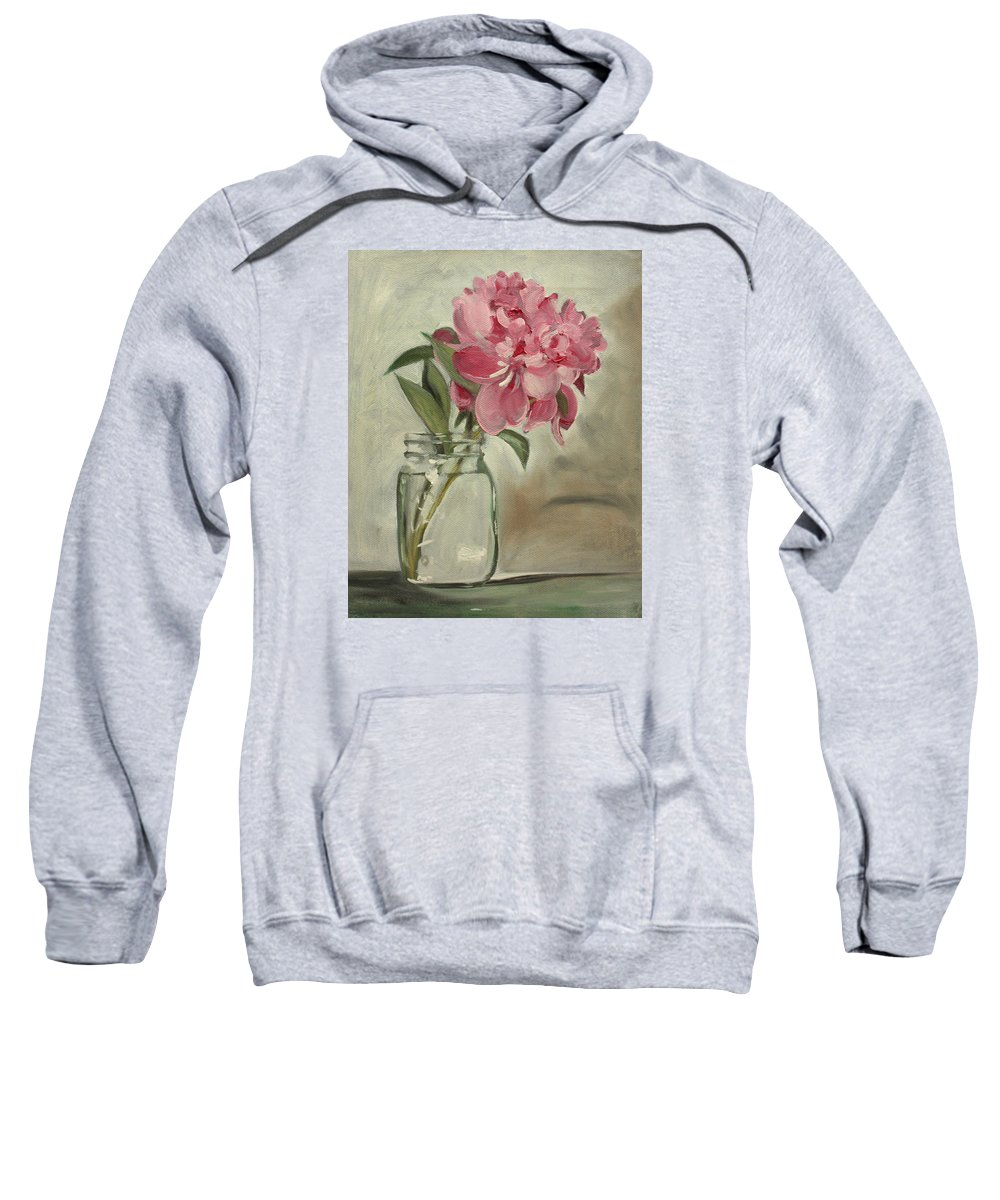 Still-life Sweatshirt featuring the painting Peony by Sarah Lynch