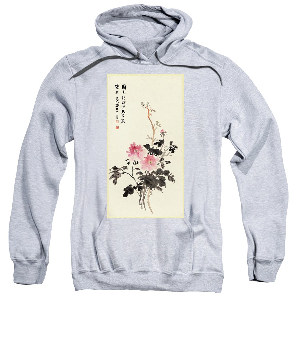 Zhang Daqian (10 May 1899 – 2 April 1983) Was One Of The Best-known And Most Prodigious Chinese Artists Of The Twentieth Century. Originally Known As A Guohua (traditionalist) Painter Sweatshirt featuring the painting Peony by Zhang Daqian