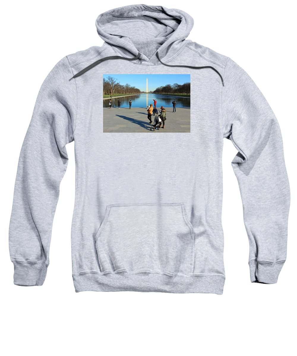 Reflecting Sweatshirt featuring the photograph People At The Reflecting Pool by Cora Wandel