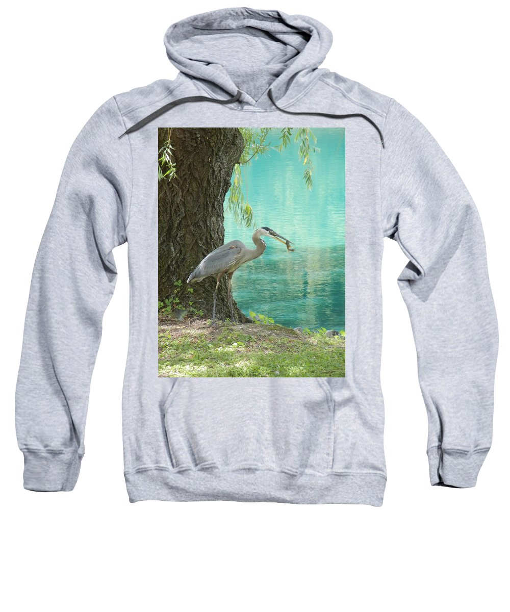 Blue Heron Sweatshirt featuring the photograph Perfect Catch by Lois Slaughter