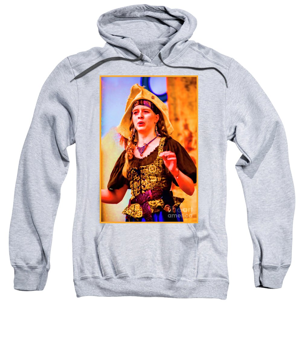 Female Sweatshirt featuring the photograph Performer Singing On Stage - In Watercolor Photo by Doug Berry