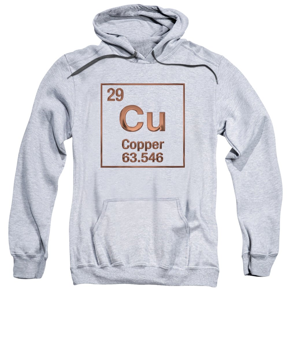 'the Elements' Collection By Serge Averbukh Sweatshirt featuring the digital art Periodic Table Of Elements - Copper - Cu by Serge Averbukh