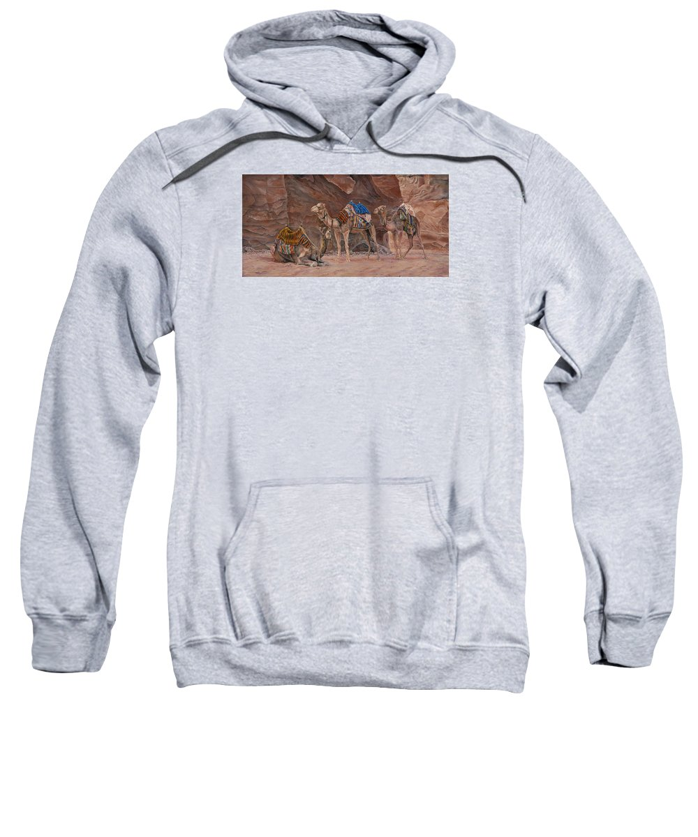 Camels Sweatshirt featuring the painting Petra Camels by Edmund Price