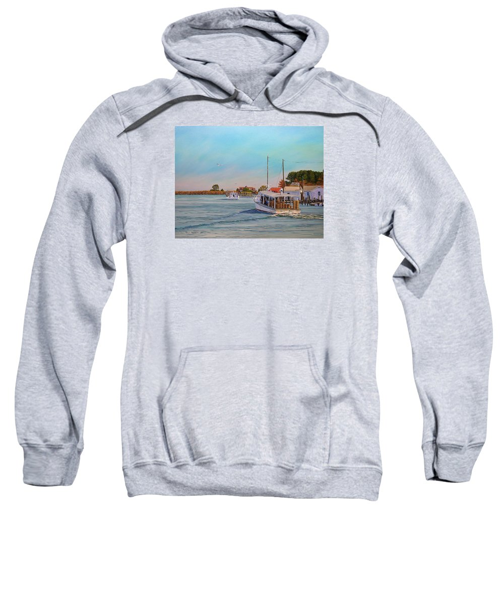 Tangier Island Sweatshirt featuring the painting Picking Up Crab by Jerry Spangler