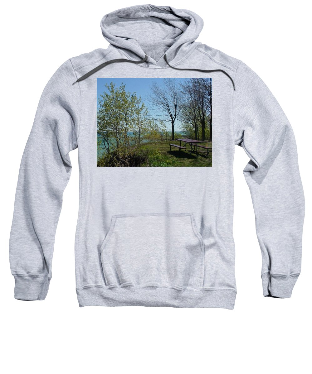 Lake View Sweatshirt featuring the photograph Picnic Table By The Lake Photo by Anita Burgermeister